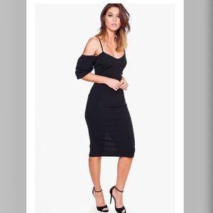 Boohoo Strappy Ruffle sleeve Midi Bodycon Dress